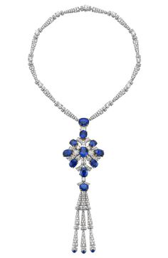 Bulgari - Fine jewelry necklace in white gold and yellow sapphires of various sizes, brilliant-cut diamonds and pavé diamonds.