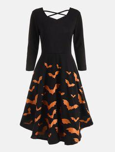 Cross Back Bat Print Fit and Flare Dress - ORANGE S