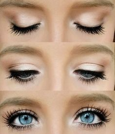 Eye Makeup Tips.Smokey Eye Makeup Tips - For a Catchy and Impressive Look All Things Beauty, Beauty Make Up, Hair Beauty, Easy Makeup Tutorial, Makeup Tutorials, Makeup Tutorial Blue Eyes, Makeup For Blue Eyes, White Eye Makeup, Light Eye Makeup
