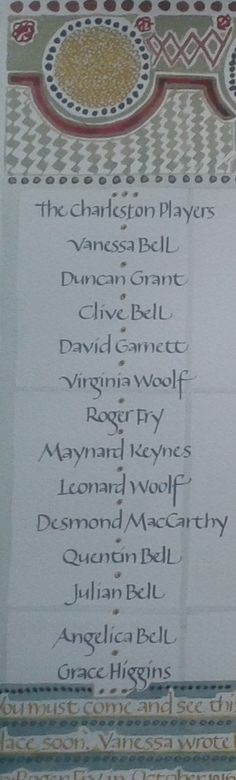 The guest list, handwritten by Ellen Waldren, image from a bigger piece of work about Charleston the country home of Vanessa Bell and Duncan Grant