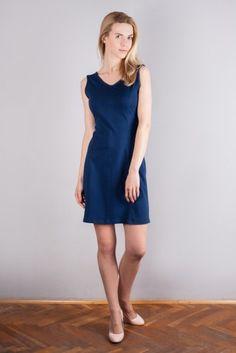 Sukienka bawełniana - Classic blue Śliczna wiosenna sukienka dostępna w naszym sklepie na: http://bozzolo.pl/kobieta/sukienki-dzianinowe-sklep-internetowy.html