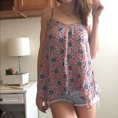 Floral Tank Top Loose size large floral tank top with open back Tops