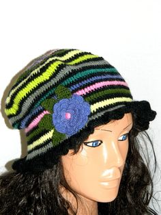 Green fashion adult crochet  hat by specialhandmades4you on Etsy, $23.00