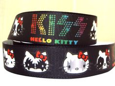3 yards 7/8 Hello Kitty KISS Grosgrain Ribbon by Ribbonology, $5.00
