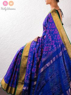 Blue Silk Pochampally Saree