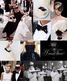 Mood: dramatic elegance  Palette: white silk, black lace