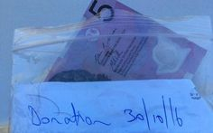 "<p>""Homeless Joe"" saw the donation bin outside of ""Dogs on the Run"" and left $5 with a kind note. </p>"