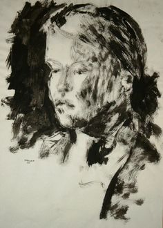 Acryl s/w - Porträt junge Frau 1 - v. skonea