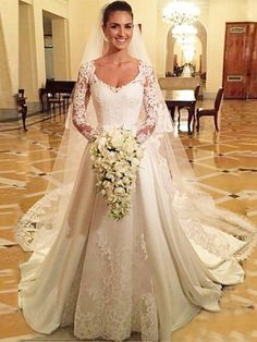 A-line V-neck Satin Tulle Court Train Appliques Lace Long Sleeve Vintage Wedding Dresses - dressesofgirl.com