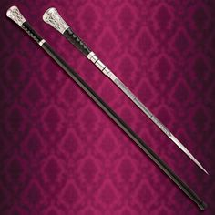 Gambler Sword Canes for sale feature a gambling and card motif. Buy this popular cane sword that has real silver plating, carved bone and an engraved blade. Wooden Walking Sticks, Walking Sticks And Canes, Walking Canes, Anime Weapons, Fantasy Weapons, Swords And Daggers, Knives And Swords, Blackthorn Walking Stick, Cane Sword
