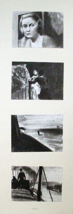 Apuntes rápidos al carboncillo a partir del film L´Atalante para una exposición intercambio con el Liceo René Cassin de Bayona. 2006