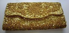 Vintage 1960's Handmade Yellow Gold Sequin / Beaded Satin Evening Clutch Purse