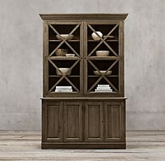 Hampton Casement Double Door Panel Sideboard Glass Hutch