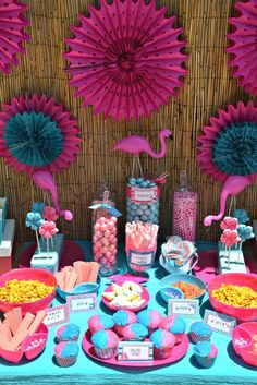 Treats at a Flamingo Pool Party - cute ideas! This pic goes with the other one, it's from the same party. Serve flavored wafer cookies, crackers, cupcakes, anything that can be done in advance will let me not be in the kitchen!