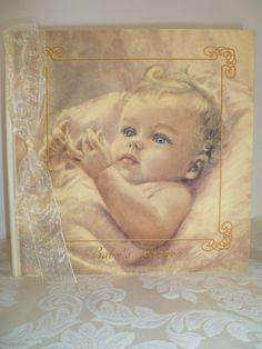 Award Winning Heirloom Linen Baby Memory Book - Baby Girl Blonde $64.00