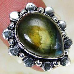 Firey Labradorite & 925 Silver Handmade Designer Ring Size M MA13-3571& gift-box