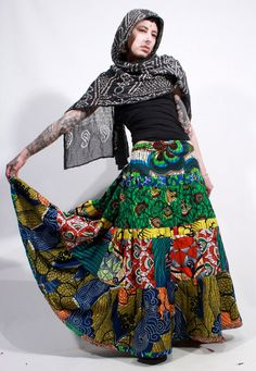 African wax print patchwork tiered ethnic gypsy by ChopstixWaits, $88.00