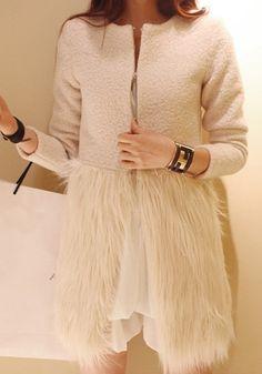 Cappotto faux avorio lana pelliccia