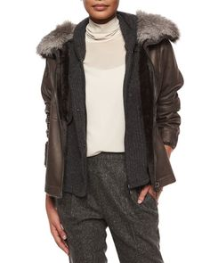 B30U0 Brunello Cucinelli Reversible Shearling Coat with Fox Fur Collar