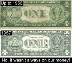"""Interesting Money Fact: Did you know that """"In God We Trust"""" was added to America's paper currency in 1957 in response to the Soviet Union's anti-religious stance and the McCarthyist Communist Cold War Witch-hunt? The Frankenstein, Pledge Of Allegiance, The Embrace, Old Money, Cash Money, Money Tips, In God We Trust, Interesting History, Interesting Stuff"""