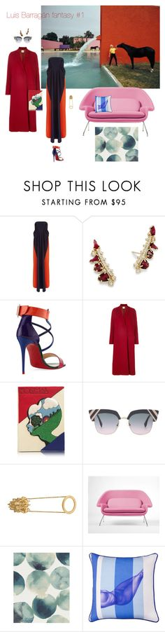 """Luis Barragan fantasy #1"" by ladyarchitect ❤ liked on Polyvore featuring Delpozo, Kendra Scott, Christian Louboutin, Forte Forte, Olympia Le-Tan, Fendi, John Brevard, Rove Concepts, West Elm and BIVAIN"