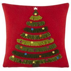 Kids Throw Pillows: Christmas Tree Throw Pillow - Trim the Tree Pillow Set Sewing Pillows Decorative, Handmade Pillows, Diy Pillows, Throw Pillows, Decorative Accents, Christmas Sewing, Handmade Christmas, Christmas Sweaters, Christmas Crafts