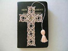 Vintage #70 size peach tatting thread.  Tatted cross bible bookmark