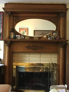 Antique Oak Mantle With Side Columns Oval Beveled Gl Mirror And Two Shelves