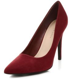 Dark Red Pointed Court Shoes