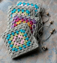 Small Linen Needle Book with Crochet detail Granny by namolio