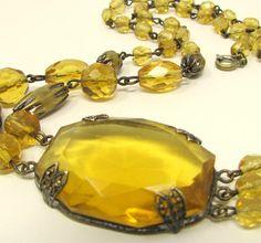 1920s Vintage Necklace Art Deco Topaz Faceted Czech Stone #czech #topaz #ArtDecoJewelry