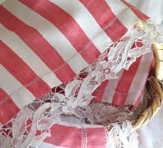 Striped Linen Hand Towels with Point De by marypearlsvintage
