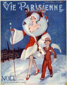 Illustration by Georges Leonnec For La Vie Parisienne 1920s. - nouveau Christmas