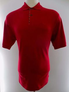 BURBERRY London POLO Shirt L Red MENS Size Knight LOGO Cotton Authentic LARGE Sz #BurberryLondon #PoloRugby