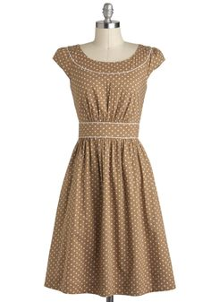 Day after Day Dress in Dots by Emily and Fin - Cotton, Mid-length, Tan, White, Polka Dots, A-line, Cap Sleeves, Daytime Party, International Designer