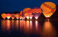 The Balloon glow at Mirror Lake in Eden Park, Cincinnati, Ohio. Balloon Glow, Balloon Rides, Hot Air Balloon, Air Ballon, My Old Kentucky Home, Kentucky Derby, Balloons Photography, Balloon Pictures, Eden Park