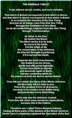 The Emerald Tablet. Translated