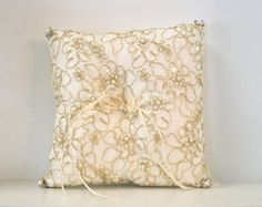 Ring Bearer Pillow, Chantilly Lace Ring Pillow, Gold Ring Bearer Pillow, Ivory Ring Pillow with Gold Threading ~ www.CouturesbyLaura.etsy.com