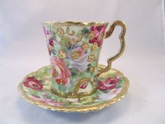 """Antique Nippon Cup and Saucer with Flowers and Lots of Gold """"Maple Leaf"""" #52"""