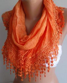 Orange  / Elegance  Shawl / Scarf with Lacy Edgesoft and by womann, $23.90