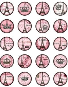 Vintage Paris Eiffel tower Winter Rose. Crowned Eiffel tower. Bottle Cap 1 inch Circle image Digital Collage Sheet Printable download 8314