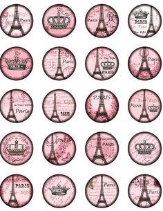 Free Bottle Cap Art Downloads | Vintage Paris Eiffel tower Winter Rose. Crown Eiffel tower. Digital ...