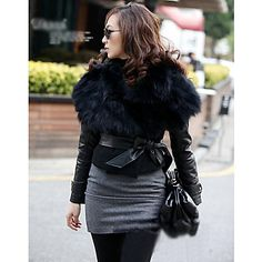 Women's Fur Collar Short Coat