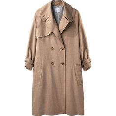 Steven Alan Edouard Trench Coat ($248) ❤ liked on Polyvore featuring outerwear, coats, jackets, coats & jackets, tops, woolen coat, camel double breasted coat, wool trench coat, brown trench coat and brown coat
