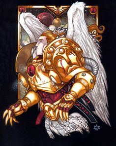 Stylized Portrait of Sanguinius, the Primarch of the IXth Legion Astartes, The Blood Angels