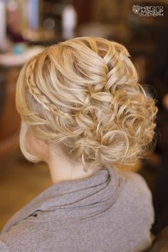 Braid and curly updo back