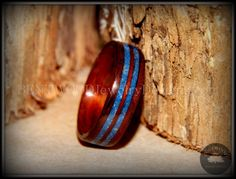 Bentwood Ring - Kingwood Wooden Ring with Double Blue Lapis Inlay using my specific bending and finishing process for an extremely durable and unique wood ring