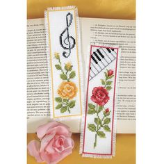 Music Garden Cross Stitched Bookmarks.