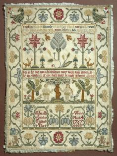 Ann Smith 1766-1767.  A LOT to like about this one -- great colors, wonderful composition, big healthy bands, pretty motifs.  This is a balanced and very pleasing sampler.