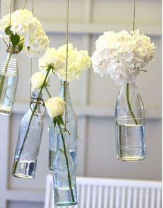 Elegant White Flowers Clear Glass Bottles